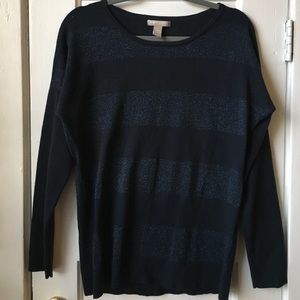 Banana Republic Sweater — Navy w Glittery Stripes